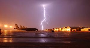 airplane in lightning